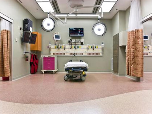 stonres flooring in hospital room